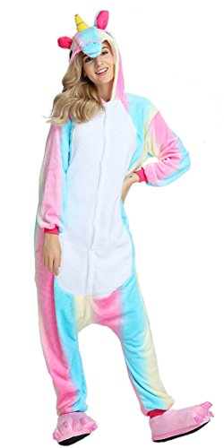 Unisex Adult Unicorn Homewear Pajamas Rainbow Colorful Flannel Onesie Cosplay Animal Costume For Women S
