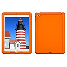 Bobj Rugged Case for iPad 2017 9.7 inch - BobjGear Custom Fit - Patented Venting - Sound Amplification - BobjBounces Kid Friendly (Not for iPad Pro 10.5) (Outrageous Orange)