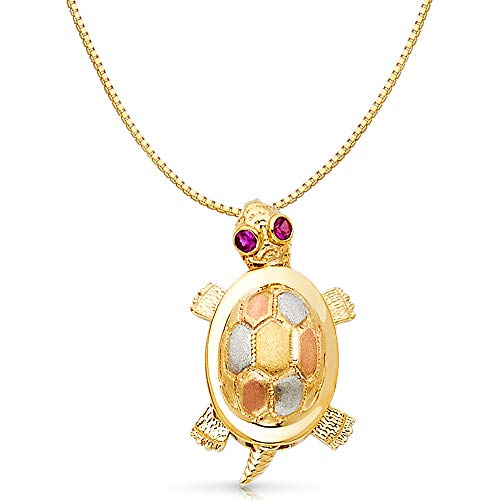 (14K Tri Color Gold Turtle Charm Pendant with 0.8mm Box Chain Necklace - 20