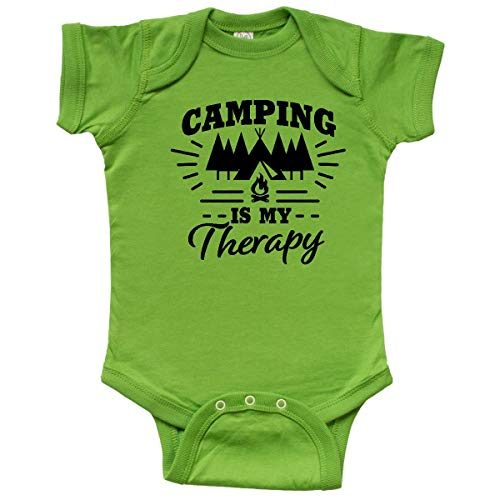 inktastic Camping is My Therapy with Tent Infant Creeper 6 Months Apple Green (The Boy And The Apple Tree Story)