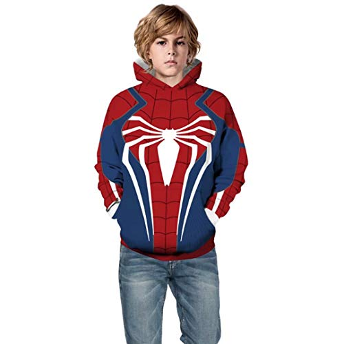 Szytypyl Kids Superhero Spiderman Velocity Suit Hoodie Halloween Cosplay Costume 3D Pullover Sweatshirt