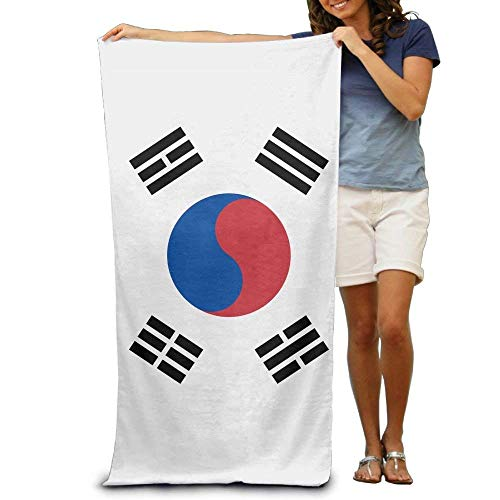 Cassiel88 Flag of South Korea Adult Beach Towels Fast/Quick Dry Machine Washable Lightweight Absorbent Plush Multipurpose Use Quality Towels for Swim,Pool,Beach,Gym,Camping,Yoga