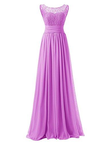 Women's Casual Sleeveless Lace Vintage Wedding Long Chiffon Maxi Dress Lilac US20W