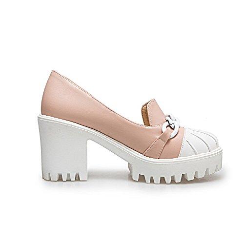 Puro Rosa Ballet Donna Alto Tonda Tirare Tacco Luccichio Punta VogueZone009 Flats 0qv1Rwv