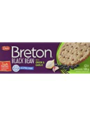 Dare Dare Breton Gluten Free Crackers, Black Bean with Onion and Garlic Crackers, Snacks with 2g of Fiber and Protein per Serving, 120g