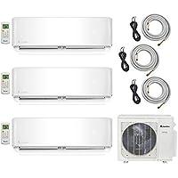 Klimaire 3-Zone (9K BTU + 9K BTU + 9K BTU) 22 SEER Ductless Multi-Zone Inverter Air Conditioner Heat Pump with 15 ft Installation Kits