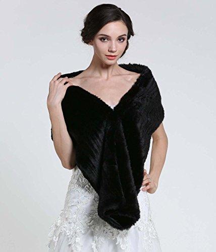 Aukmla Women's Faux Fur Shawls and Wraps Bridal Wedding Stole (Black) by Aukmla (Image #3)