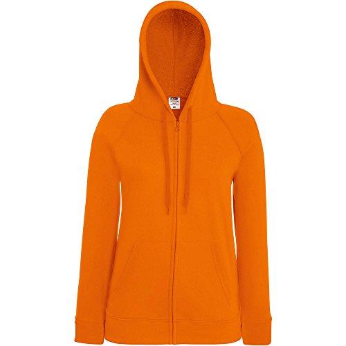 Fruit Of The Loom Ladies Lady Fit Full Zip Hooded Sweatshirt Orange