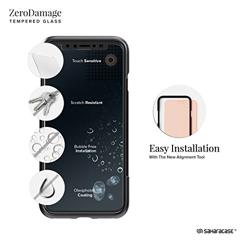 iPhone x custodia, Saharacase Dbulk kit di protezione schermo in vetro temperato con [Zerodamage] Slim Fit [Presa anti-scivolo antiurto paraurti con coperchio posteriore] iPhone 10 – blu navy