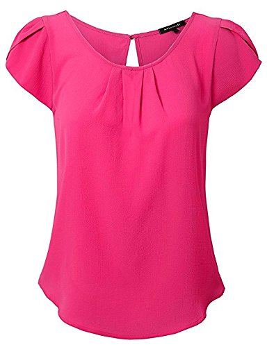 MISSISH Womens Scoop Neck Pleated Front Chiffon Petal Short Sleeve Blouse Tops XX-Large (Tulip Sleeve Top)