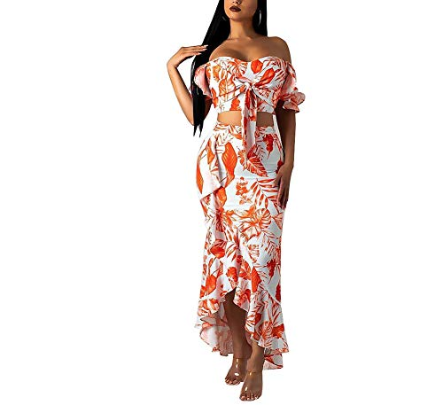 Women's 2 Piece Floral Sexy Off Shoulder Bodycon Dress Ruffle Crop Top and Maxi Skirt Set