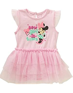 Infant Minnie Mouse New Girl In Town Pink Creeper Tutu Dress