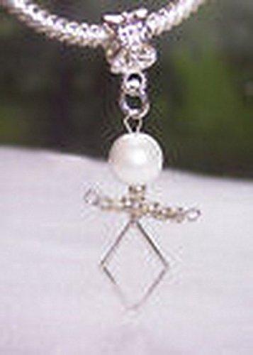 June Bead Boy Charm - Glamorise Beads #14533 Baby Birthstone June Boy White Pearl Dangle Bead fits European Charm Bracelets