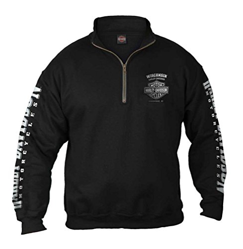 Harley-Davidson Men's Lightning Chest 1/4 Zip Cadet Pullover Sweatshirt, Black