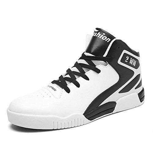 Scarpe da basket scarpe sportive Scarpe da corsa Scarpe da passeggio Scarpe da uomo traspirante Assorbimento degli urti Cuscino d'aria High-top Sport all'aria aperta Usura antiscivolo , White , UK 6.5