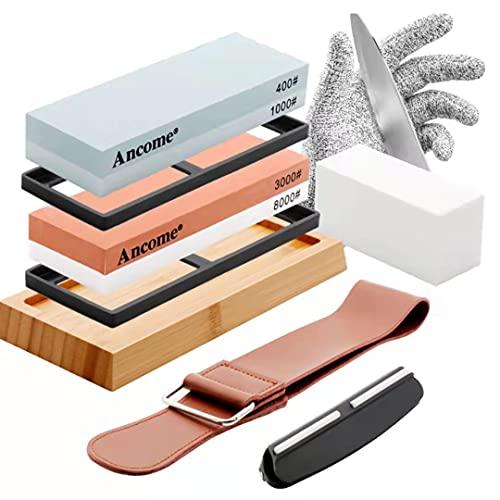 Sharpening Stone Whetstone Set, Japanese Whetstone Professional Sharpener Water Set For Knives,Premium 4 Side Grit 400/1000,3000/8000 Stone,Flattening Stone,Angle Guide, Leather Strop, Anti Cut Gloves