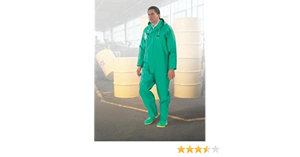 ONGUARD 71022 XL Coverall w//Inner Cuffs,XL,Green,HD PVC
