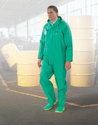 Bata Shoe 71022-2X Onguard Industries 2X Green Chemtex PVC, Nylon and Polyester Rain Coverall with Storm Flap Over Front Zipper Closure, Attached Hood and Inner Cuffs, 15.34 fl. oz, 1