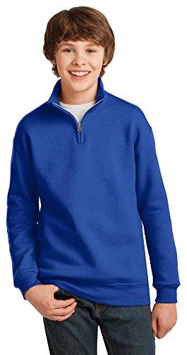 Youth Quarter Zip Pullover - Jerzees Youth 8 oz., 50/50 NuBlend Quarter-Zip Cadet Collar Sweatshirt (995Y)- ROYAL,M