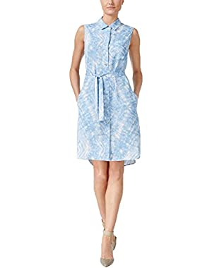 Calvin Klein Sleeveless Belted Shirtdress Blue 2