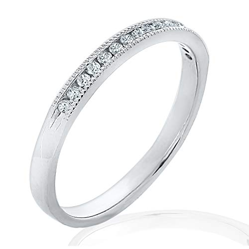 0.125CTTW Channel Set Diamond Band in 14K White Gold, 1/8 Carat Milgrain Diamond Anniversary Ring
