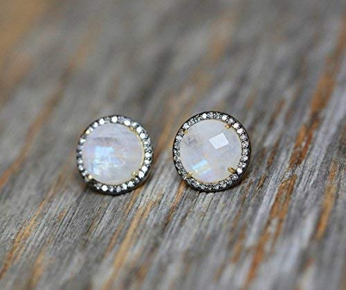 Rainbow Moonstone Pave Diamond Sterling Silver Stud Earrings Birthstone Jewelry Gift (Diamond Moonstone Earrings)