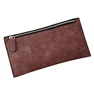 Fashion Women Leather Zipper Retro Wallet(21×11CM),Tuscom@ (Wine)