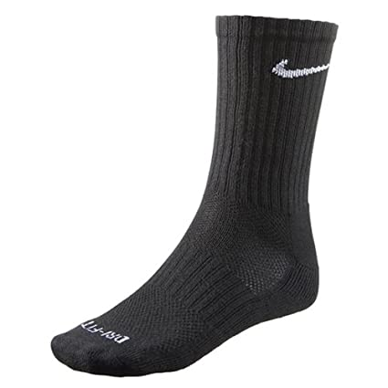 b03a0ac4c Amazon.com : Nike Dri-FIT Crew Sock 6 Pack - (Black, Large) : Sports &  Outdoors