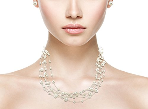 DZG Women's Bridal Necklace Faux Pearl String and Earrings Set Cream Classic Illusion Galactic - Faux Pearl Illusion Necklace Earrings
