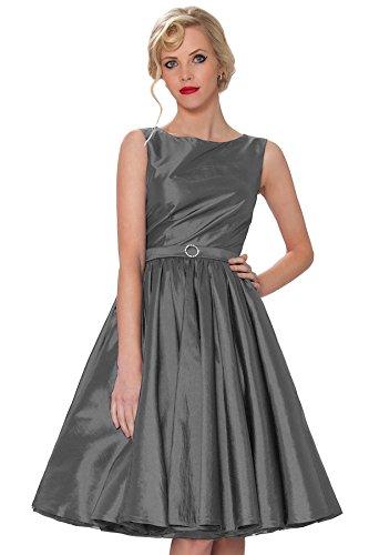 Vintage clase 1950 oscilaci¨®n Cl¨¢sico Tarde oscuro gris SEXYHER Estilo con RBJ1401 Hepburn del vestido 8T Rockabilly Audrey ropa wSHXq