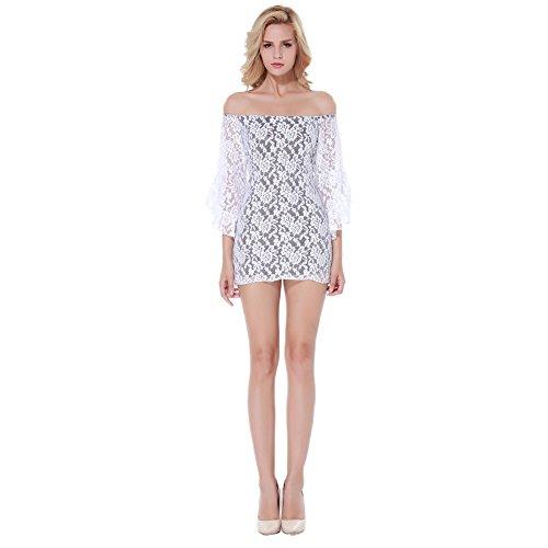GGTBOUTIQUE - Robe - Cocktail - Manches Longues - Femme Blanc Blanc