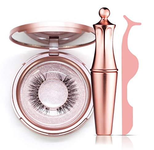 Magnetic Eyelashes with Magnetic Eyeliner, Reusable Silk False Lashes, Ultra Thin Magnet, Light weight & Easy to Wear, Best 3D Reusable Eyelashes with Applicator