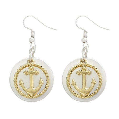 Rosemarie Collections Women's Two Tone Nautical Anchor Dangle Earrings (Silver and Gold Tone) -
