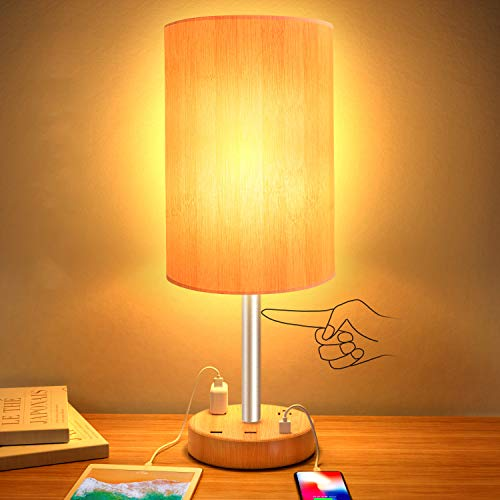 USB Table Lamp,Touch Control Lamp with 3 USB Charging Ports and 2 AC Outlets,Dimmable Bedside Nightstand Lamp with Wooden Base,Perfect for Bedroom,Living Room,Office,Study Desk(8W LED Bulb Included)