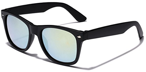 Kids Classic Horn Rimmed Frame Reflective Mirror Lens Sunglasses for Ages 4 to - Mirrored Sunglasses Cheap Wayfarer