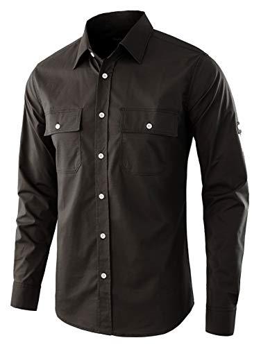 - Estepoba Men's Premium Casual Stretch Long Sleeve Solid Button-Down Work Shirt Charcoal XL