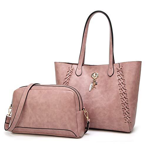 Fashion Bags 2pcs Handbag Top Shoulder Lady Bag Tote New Pink Style Purse WENIG handle ICqwzax
