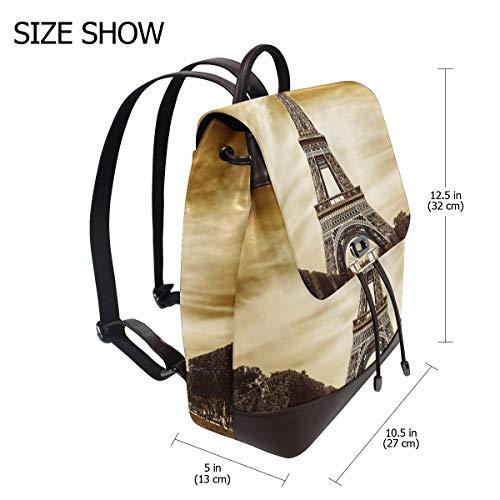 Kvinnor PU-läder Eifel Tower i Paris ryggsäck handväska resa skola axelväska ledig dagväska
