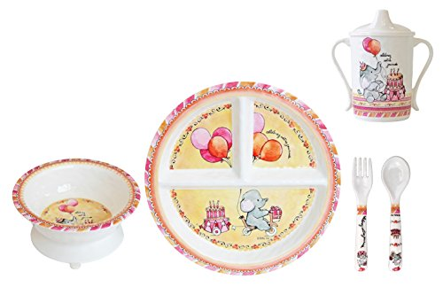 Baby Cie Melamine Plate, Sippy Cup, Bowl, Fork & Spoon, 5 piece set - Celebrate Your Day