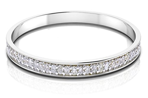 14k Gold Half Band Natural Diamond Wedding Anniversary Ring (1/10 cttw, G-H Color, I1-I2 Clarity) (white-gold, 6.5) by Buy Jewels (Image #1)