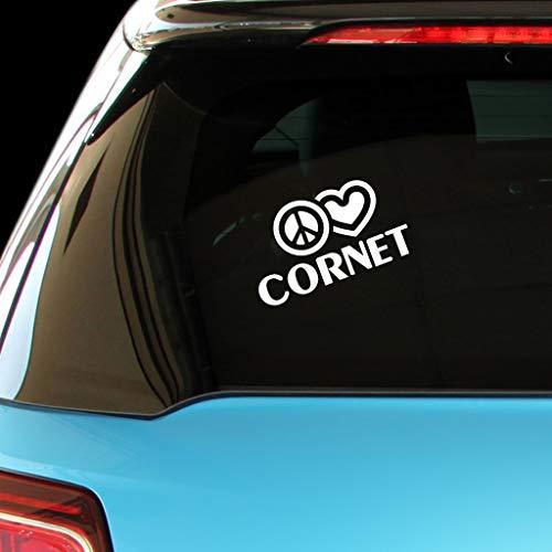 PEACE LOVE CORNET Music Car Laptop Sticker Decal