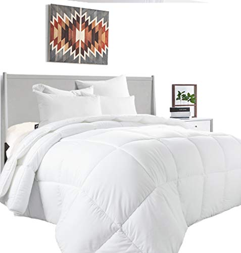 MEWAY Queen All-Season White Down Alternative Quilted Comforter-Hotel Collection Reversible Duvet Insert-Fill with Corner Ties,Warm Fluffy ()
