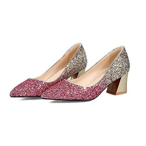 5cmThick Sequined Gradient Shallow Mouth Spring Women's Shoes Color Purple 5 Mid Cloth gold High Heel Heels Heel xpUnfqP0n