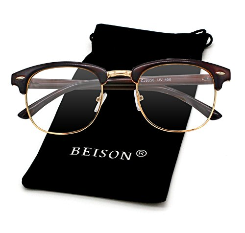 Beison Womens Mens Horned Rim Wayfarer Glasses Frame Nerd Eyeglasses (Brown / Gold, - Half Glasses Frame Clear