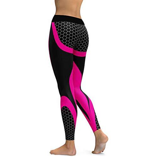 - HTDRCT Mesh Pattern Print Leggings Fitness Leggings for Women Sporting Workout Leggins Elastic Slim Black White Pants Rose Red L
