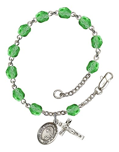 (Silver Plate Rosary Bracelet features 6mm Peridot Fire Polished beads. The Crucifix measures 5/8 x 1/4. The charm features a Footprints / Cross medal. )