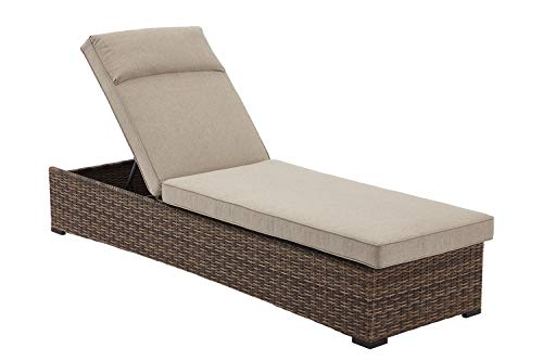 Mobile Lounge Adjustable Chaise - Care 4 Home LLC Patio Garden Wicker Upholstered Chaise Lounge, Rust Resistant, Adjustable Back with 4 Positions, Outdoor Furniture, Beach, Pool Side, Brown Color