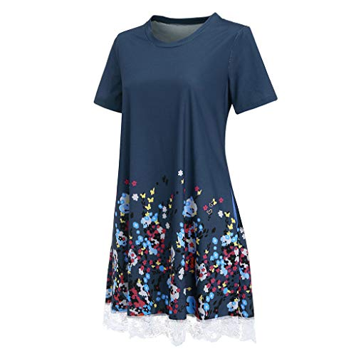 NRUTUP Women O Neck Casual Print Pocket Lace Short Sleeve Mini Dress Loose Party Dress (Blue,S) by NRUTUP (Image #2)