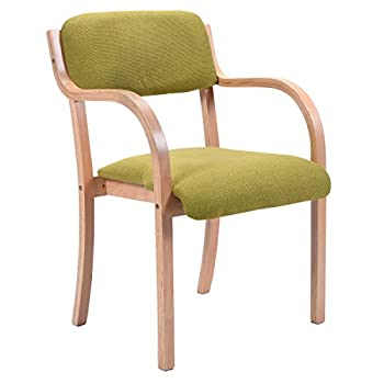 Costway Modern Bentwood Arm Dining Chair Accent Chair Upholstered Home Room Furniture (1, Green)