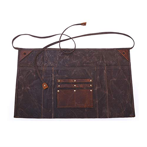 Multipurpose Waxed Canvas half Waist Work Apron for Men and Women, Heavy Duty Workshop Tool Apron Waterproof with Leather Pocket